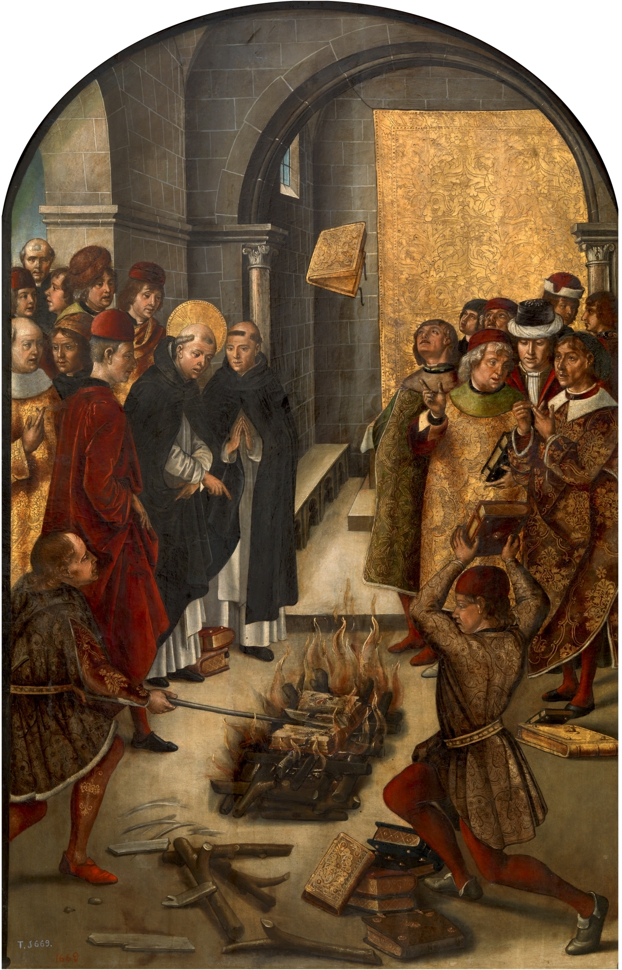 The burning of books condemned by the Inquisition.