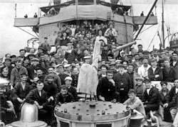 Some of the survivors of the Britannic aboard ...
