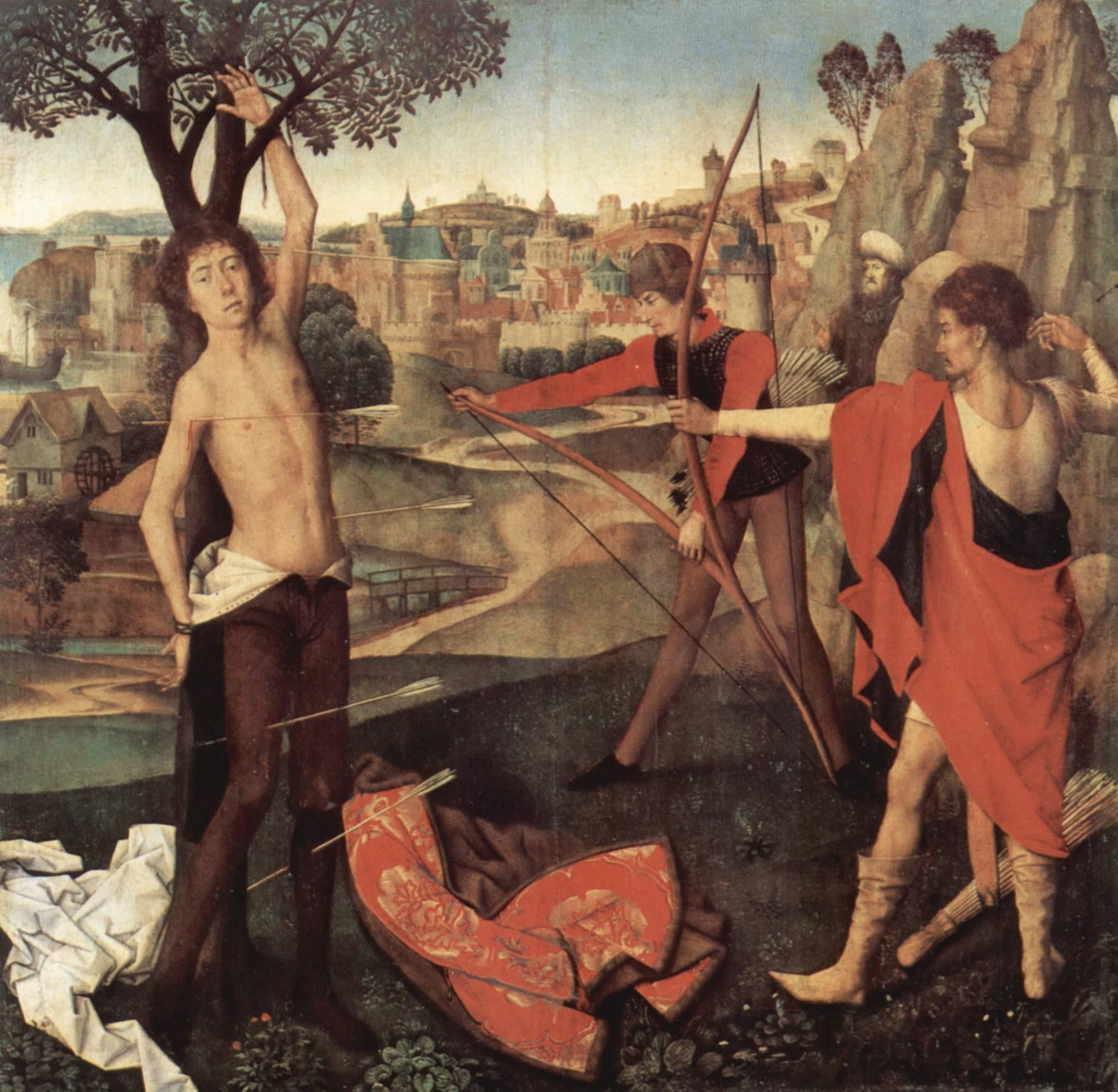 "Hans Memling (about 1433-1494). ""Saint Sebastian"" (1470th, Brussels)."