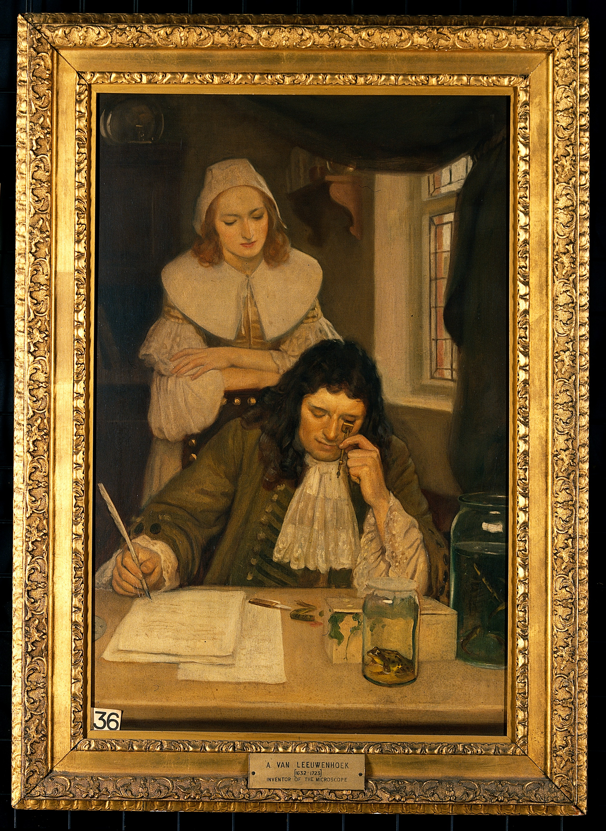 File Leeuwenhoek With His Microscope Oil Painting By