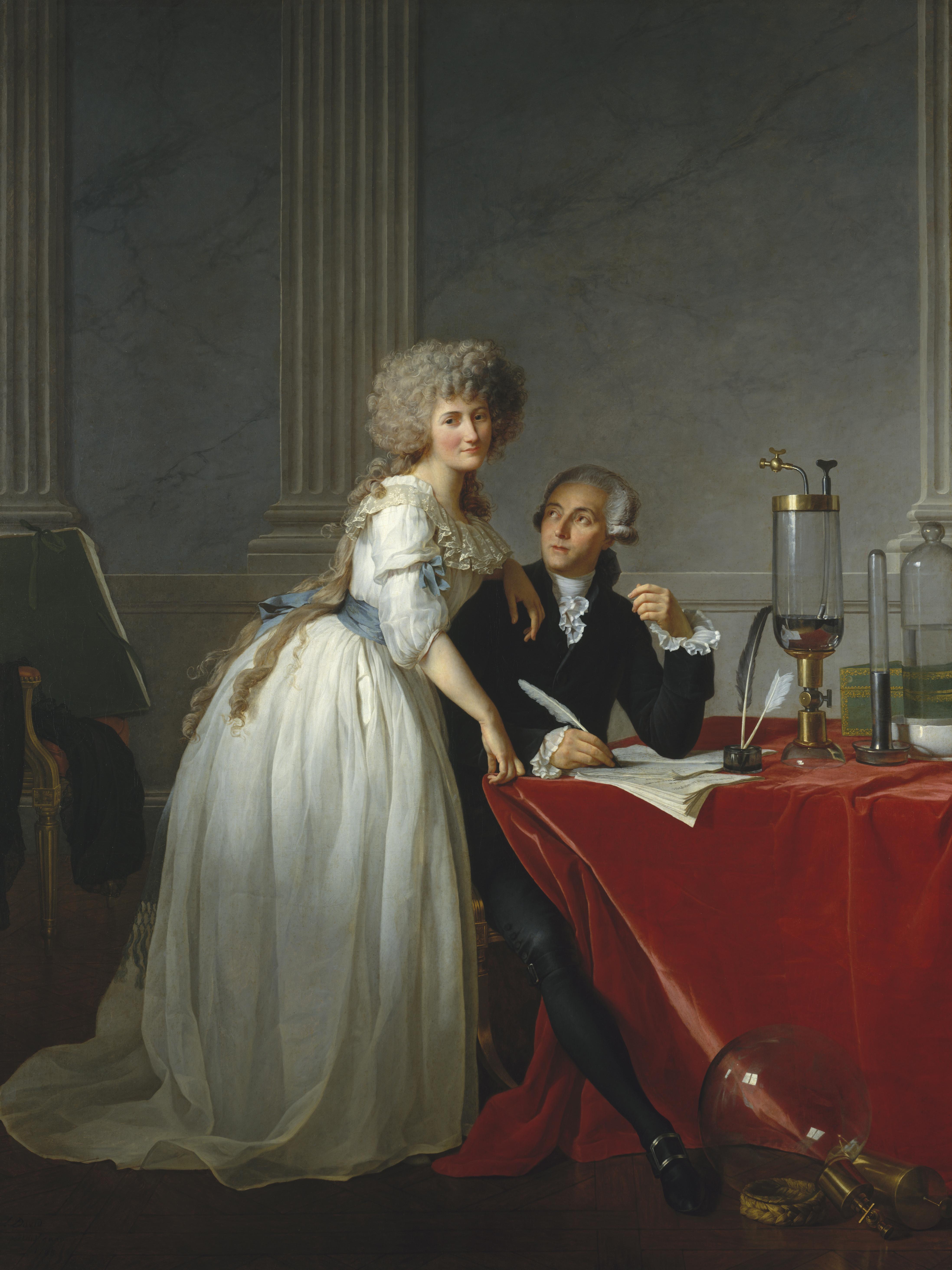 Portrait of Monsieur de Lavoisier and his Wife, chemist Marie-Anne Pierrette Paulze.