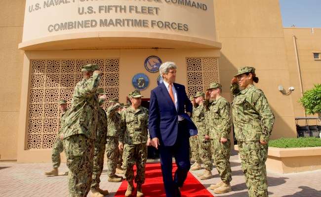 File Secretary Kerry Departs The American Naval Base In