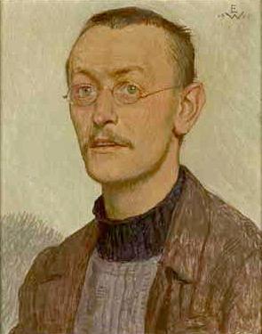 Bildnis Hermann Hesse. Brustbild. Tempera auf ...