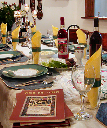 Seder table for Passover dinner