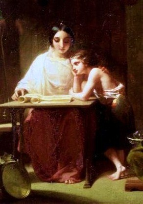 English: Young saint Timothy with his mother
