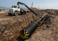 Installation of storm drain pipe, Mexico [41422912 ...