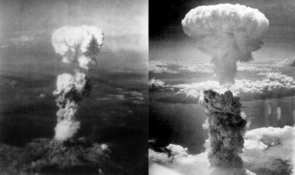 Mushroom clouds over Hiroshima (left) and Naga...