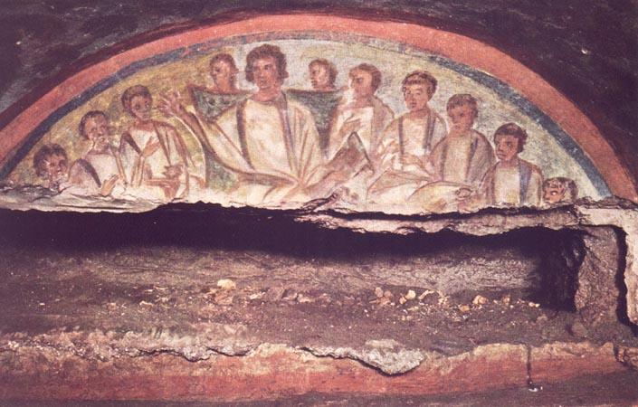 Jesús Maestro joven rodeado de discipulos. Catacumbas de Domitila. Roma