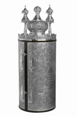 A Silver Torah Case used to hold a Sefer Torah...