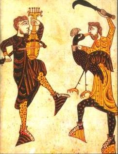 Medieval art. Dancers. Español: Bailarines. Ar...