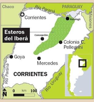 Mapa Esteros Ibera Colonia Pellegrini