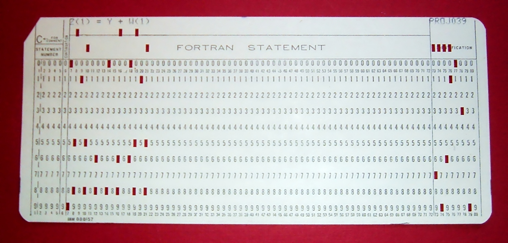 A fortran punch card