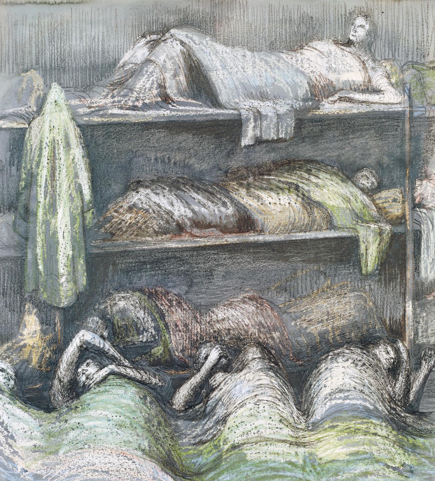 File Shelter Scene Bunks And Sleepers By Henry Moore
