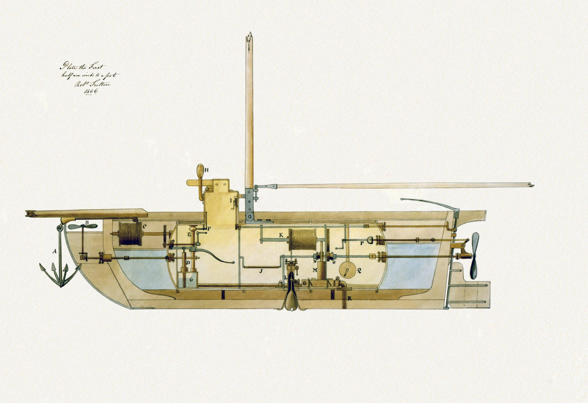 hight resolution of an 1806 submarine design by robert fulton