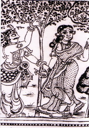 Illustration from Sougandhika Parinaya lithograph