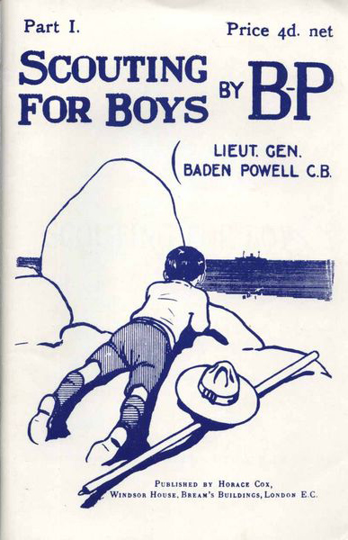 From Wikipedia:  Front cover of the first part of Scouting for Boys by Robert Baden-Powell, published in January 1908. Illustrations by Baden-Powell himself.
