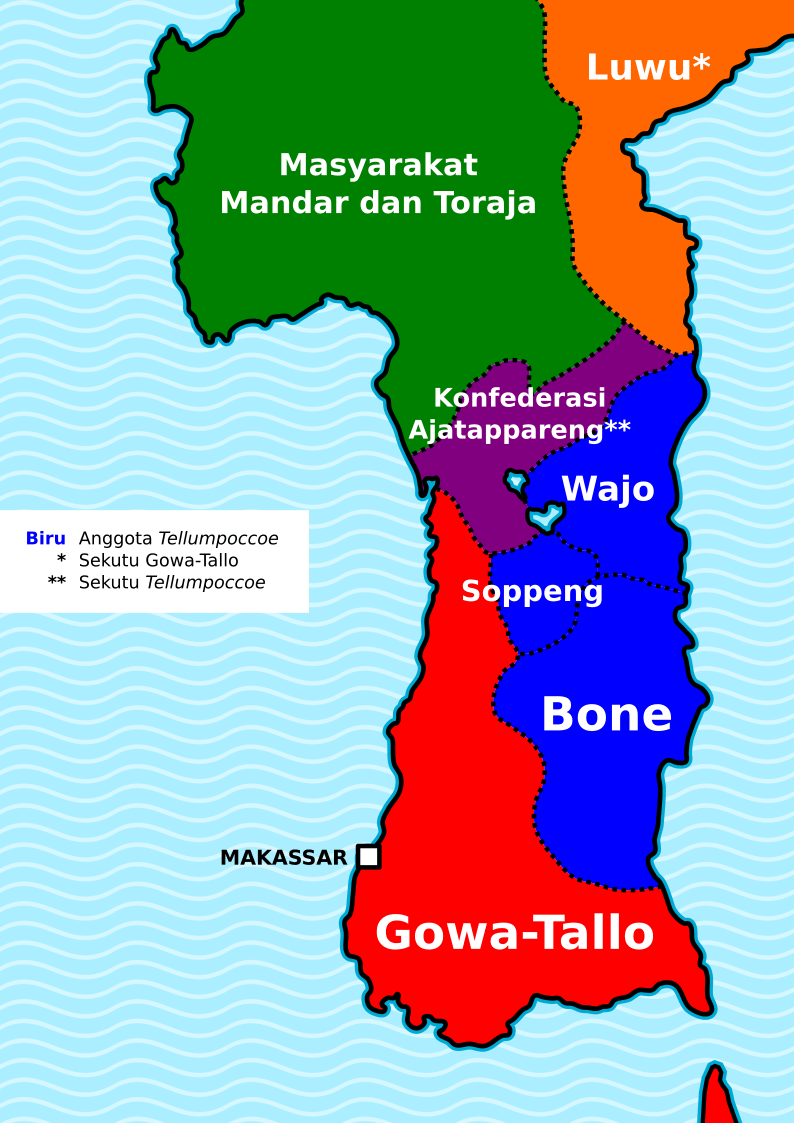 Kesultanan Gowa Tallo : kesultanan, tallo, File:Gowa-Tallo, Tellumpocco, Id.png, Wikimedia, Commons