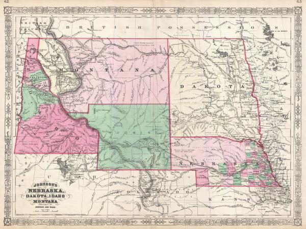 File1866 Johnson Map of Montana Wyoming Idaho Nebraska