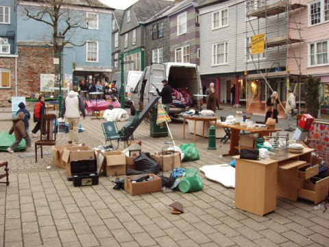 English: 2nd-hand goods in Totnes market The g...