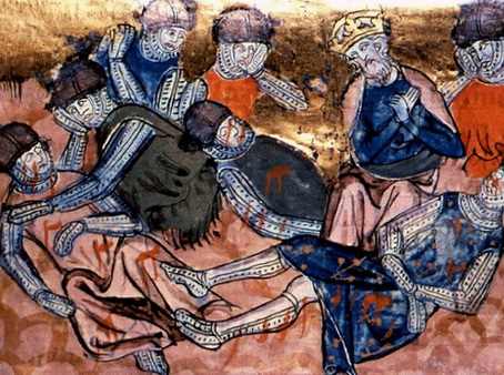 Charles finds Roland dead - 14th century image