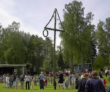 Een meiboom in Zweden (bron: Wikimedia Commons)