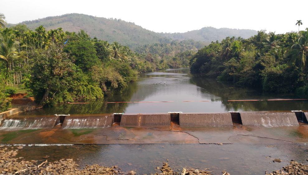 medium resolution of a check dam at kudumboor across chandragiri river