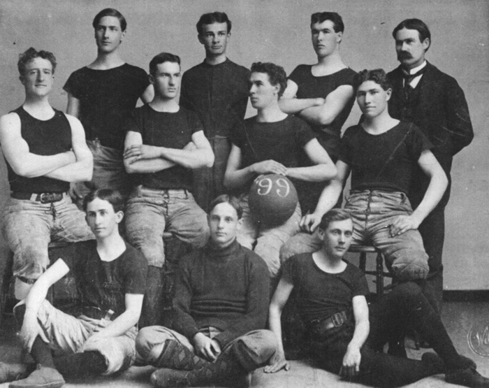 First basketball team at the University of Kansas, 1899.  Coach James Naismith is on the far right.