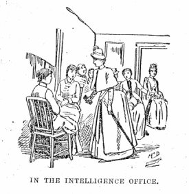 An illustration showing women waiting in the o...