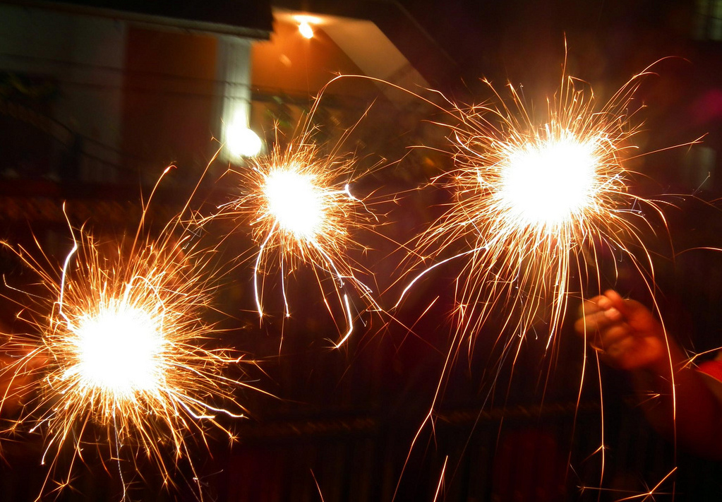 The sparklers in Diwali Celebrations 2010