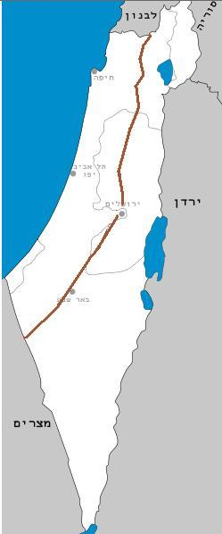 Map of Israel Drainage divide