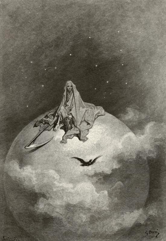 La Morte sul globo terrestre, illustrazione di Gustave Doré. Immagine di pubblico dominio.
