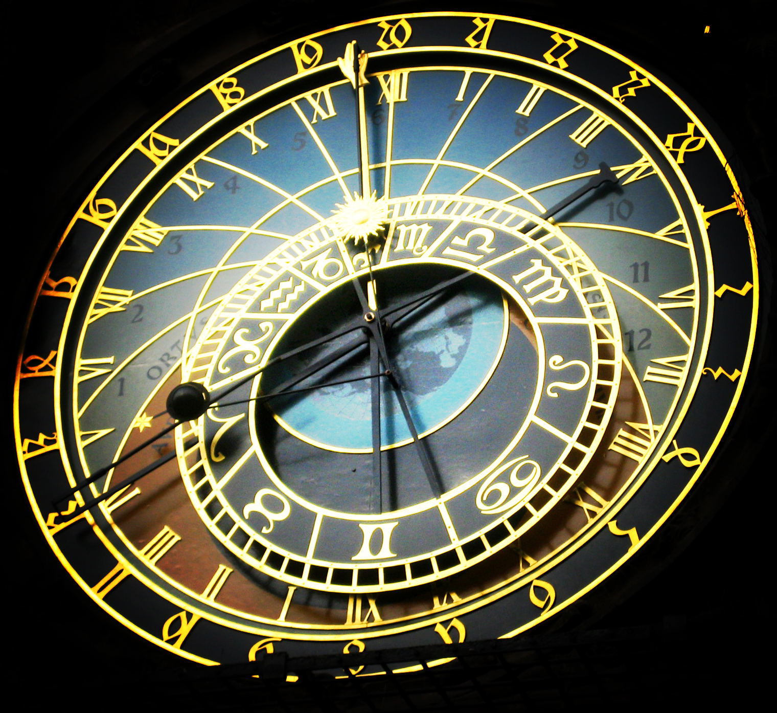 Astronomical Clock Face via Wikimedia Commons http://commons.wikimedia.org/wiki/File%3AAstronomical_Clock_Face.jpg