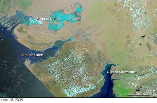 NASA Earth Observatory photo of the Gujarat Gulfs, including the Gulf of Cambay (Khambhat), where a lost city was thought to have been found in 2001; later research indicates no city underwater.