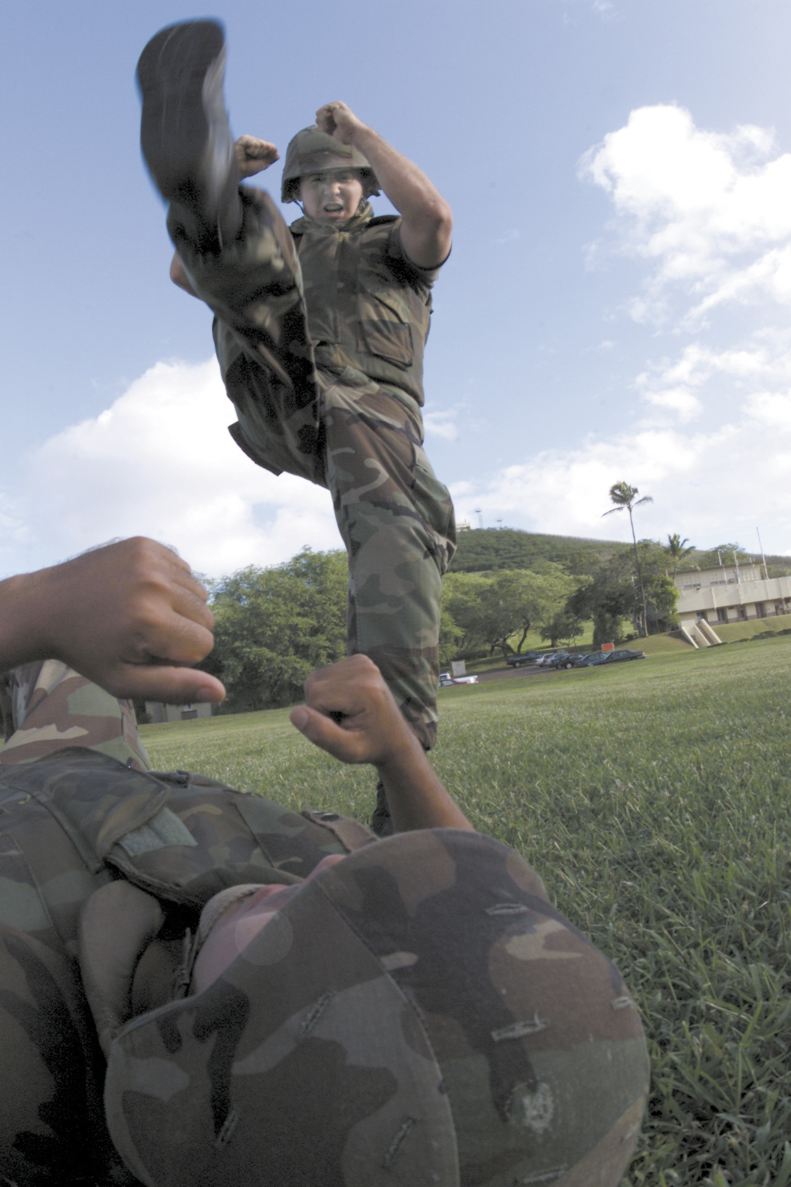 A Soldier Is About To Stomp On Another Lying The Ground