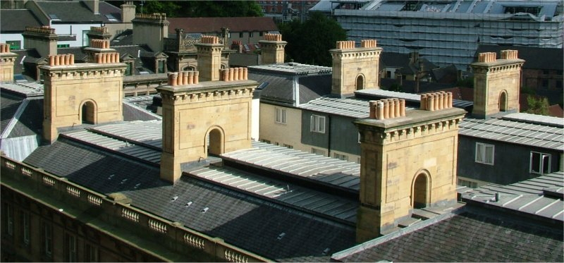 Chimney stacks on a building in Newcastle upon...