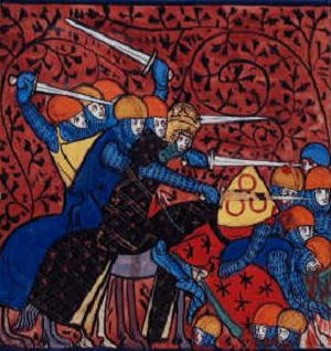A 13th century illustration of a war between Charlemagne's Franks and the Saxons