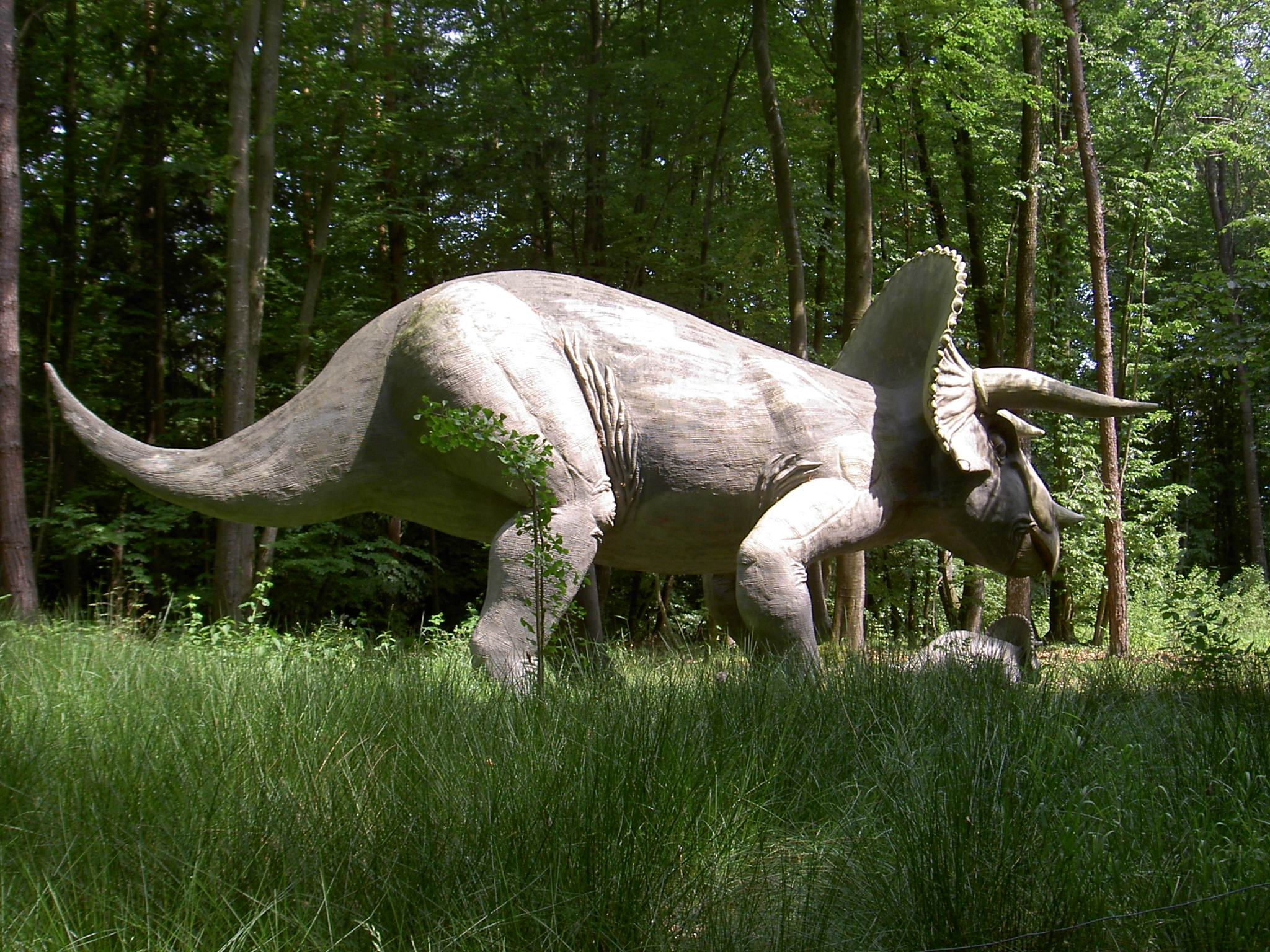A Triceratops with her calf.