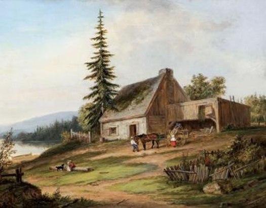 File A Pioneer Homestead Oil Painting By Cornelius Krieghoff