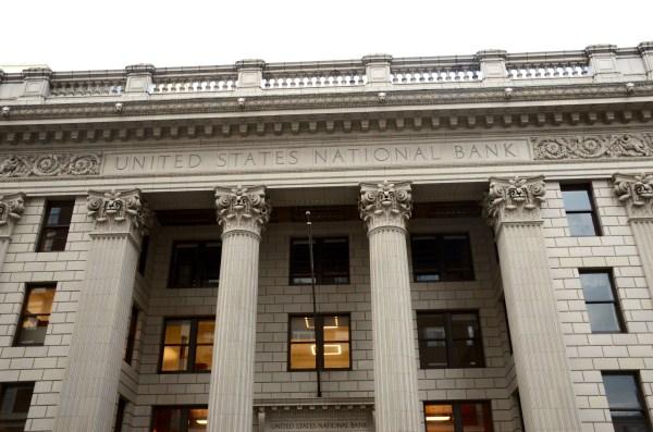 File U. National Bank Building In Portland - West Facade