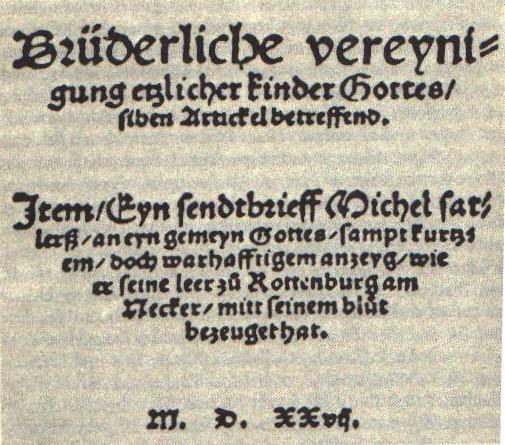The Schleitheim Confession