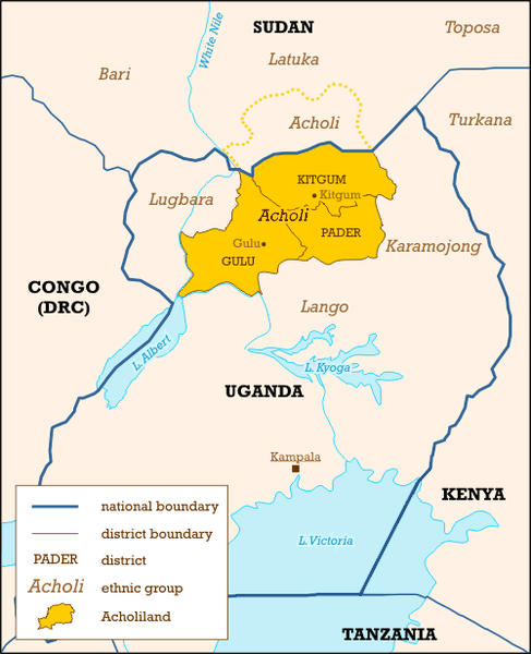 Map of Uganda with Acholiland highlight