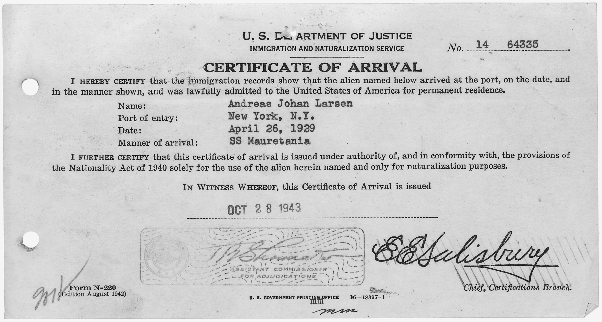 File:Certificate of Arrival for Andreas Johan Larsen