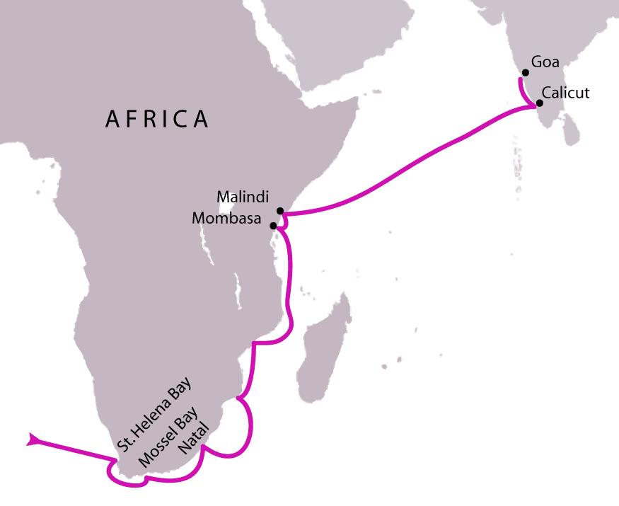 Ruta de Vasco de Gama en su primer viaje