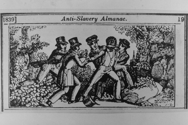 The capture of a runaway slave by patrol of southerners. Engraving from the Almanac against slavery (1839).