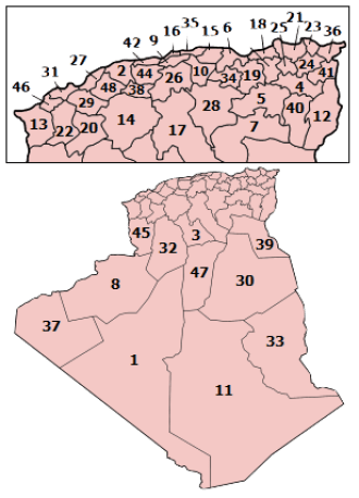 Algeria provinces numbered2.png