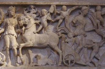 Gaia steps out of her chariot - detail of a sarcophagus in Glyptotheck in Munich