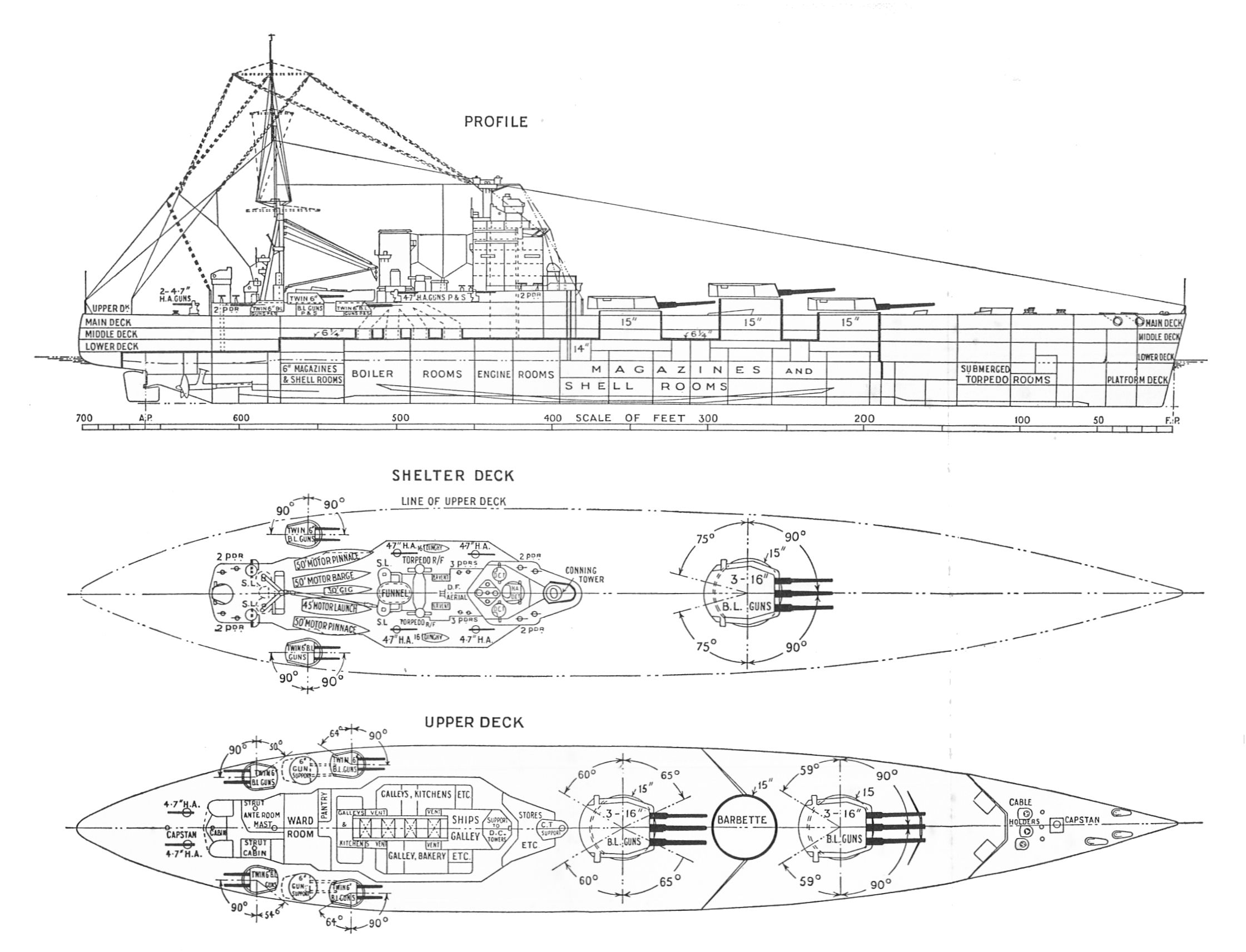 Hms Nelson Outline And Plan Warships To Day