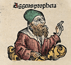 The biblical prophet Haggai. Woodcut from the ...
