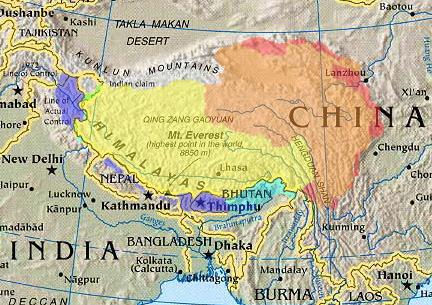 Mapa Tibet