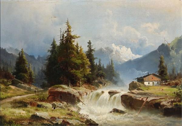 Mountain River Landscape Painting